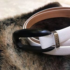 GUCCI vintage white leather belt luxury accessory